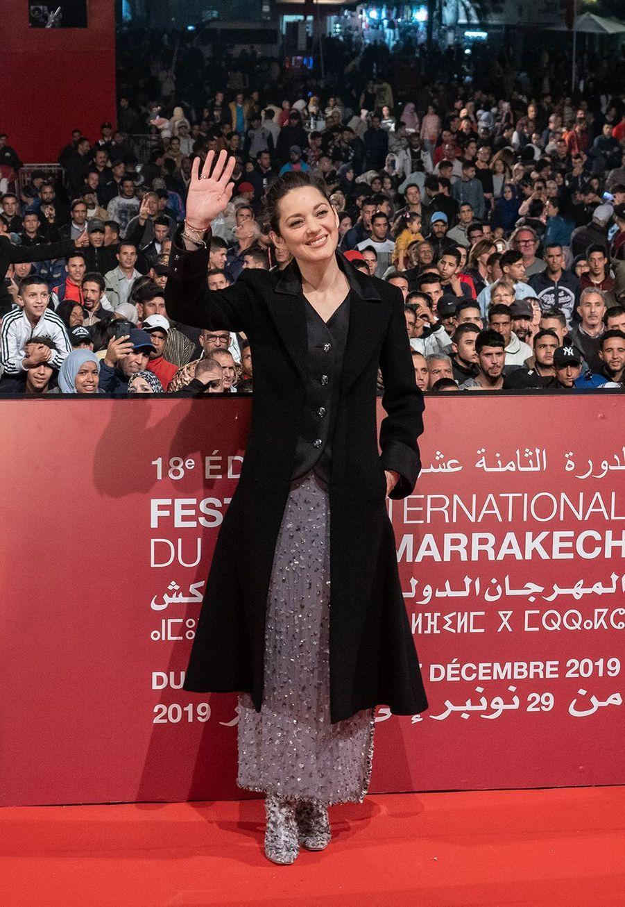 """Marion Cotillardse rendà la projection du film """"MacBeth""""lors du festival du film de Marrakech, le 30 novembre 2019."""