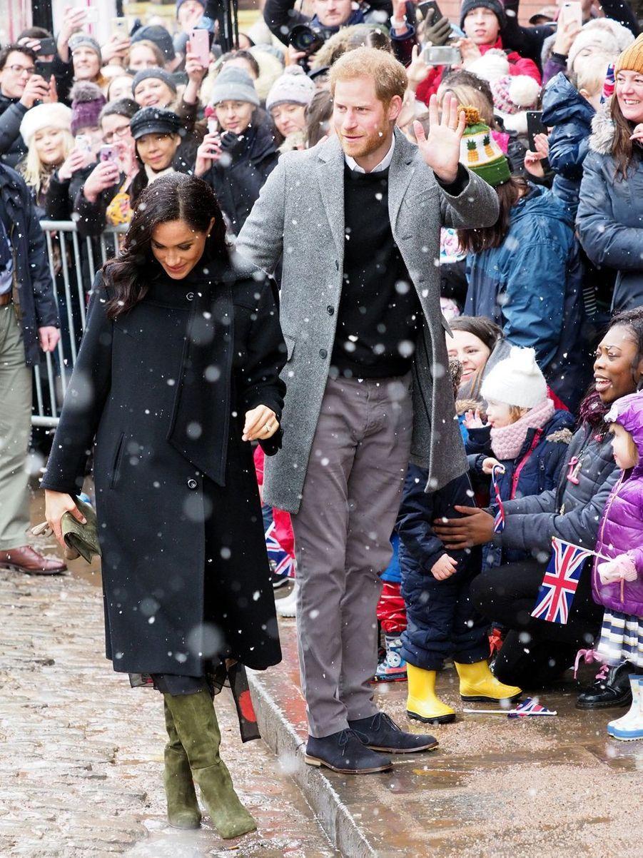 Le prince Harry, duc de Sussex, et Meghan Markle, duchesse de Sussex (enceinte), en visite à Bristol le 1er février 2019