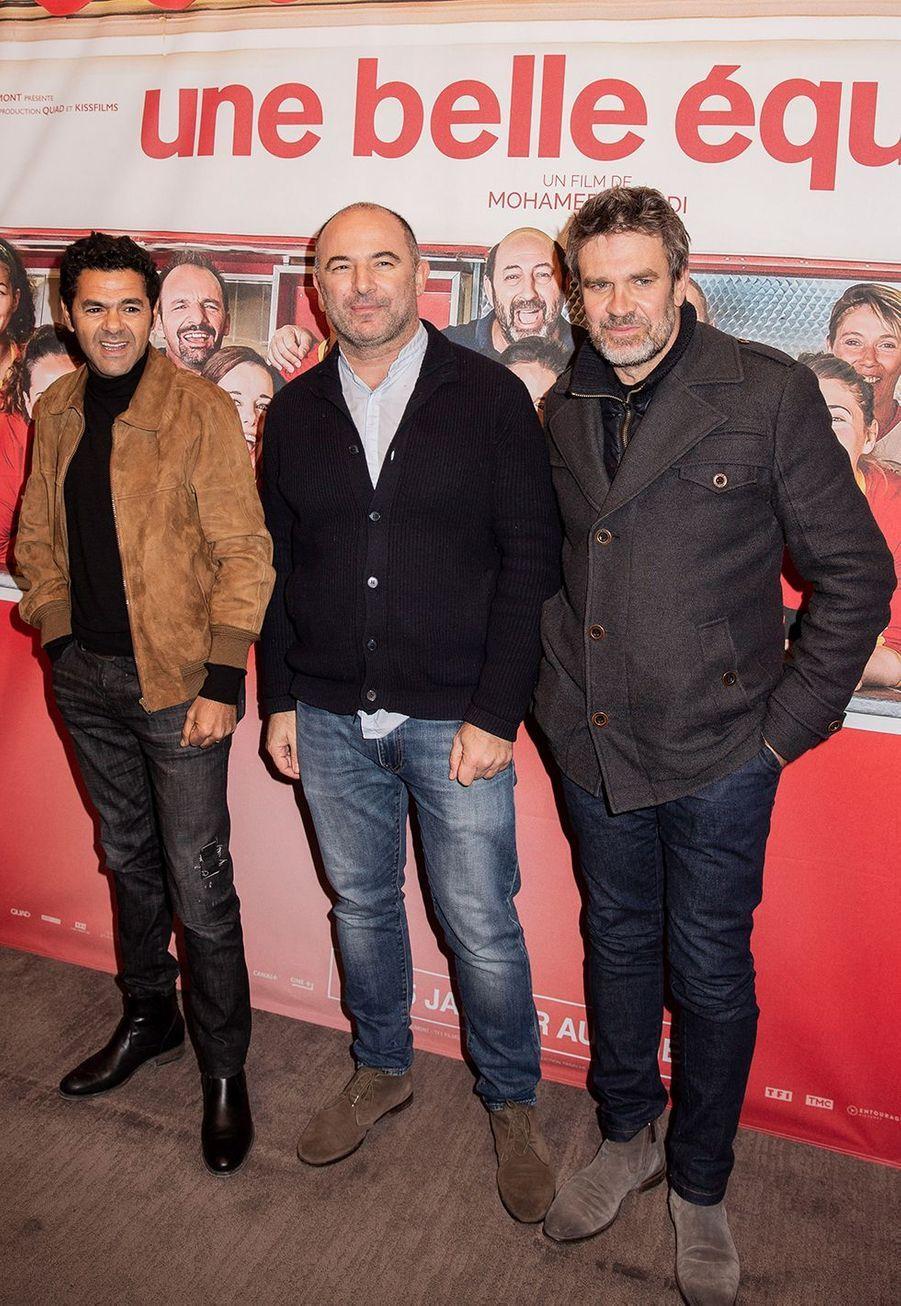 Jamel Debbouze, Mohamed Hamidi et Hervé Mathouxà l'avant-première du film «Une belle équipe» à Paris le 3 décembre 2019