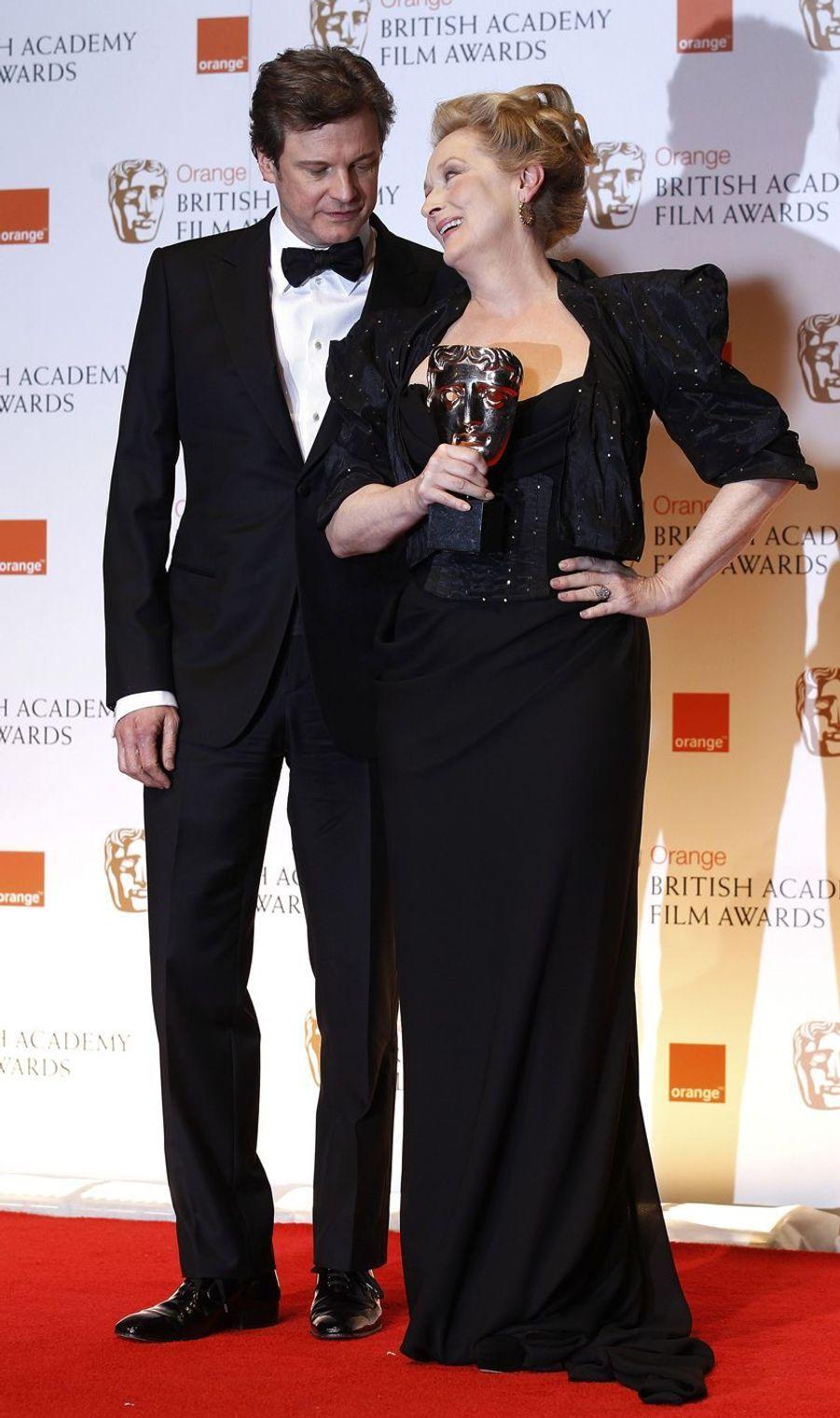 Meryl Streep et Colin Firth à Londres, le 12 février 2012