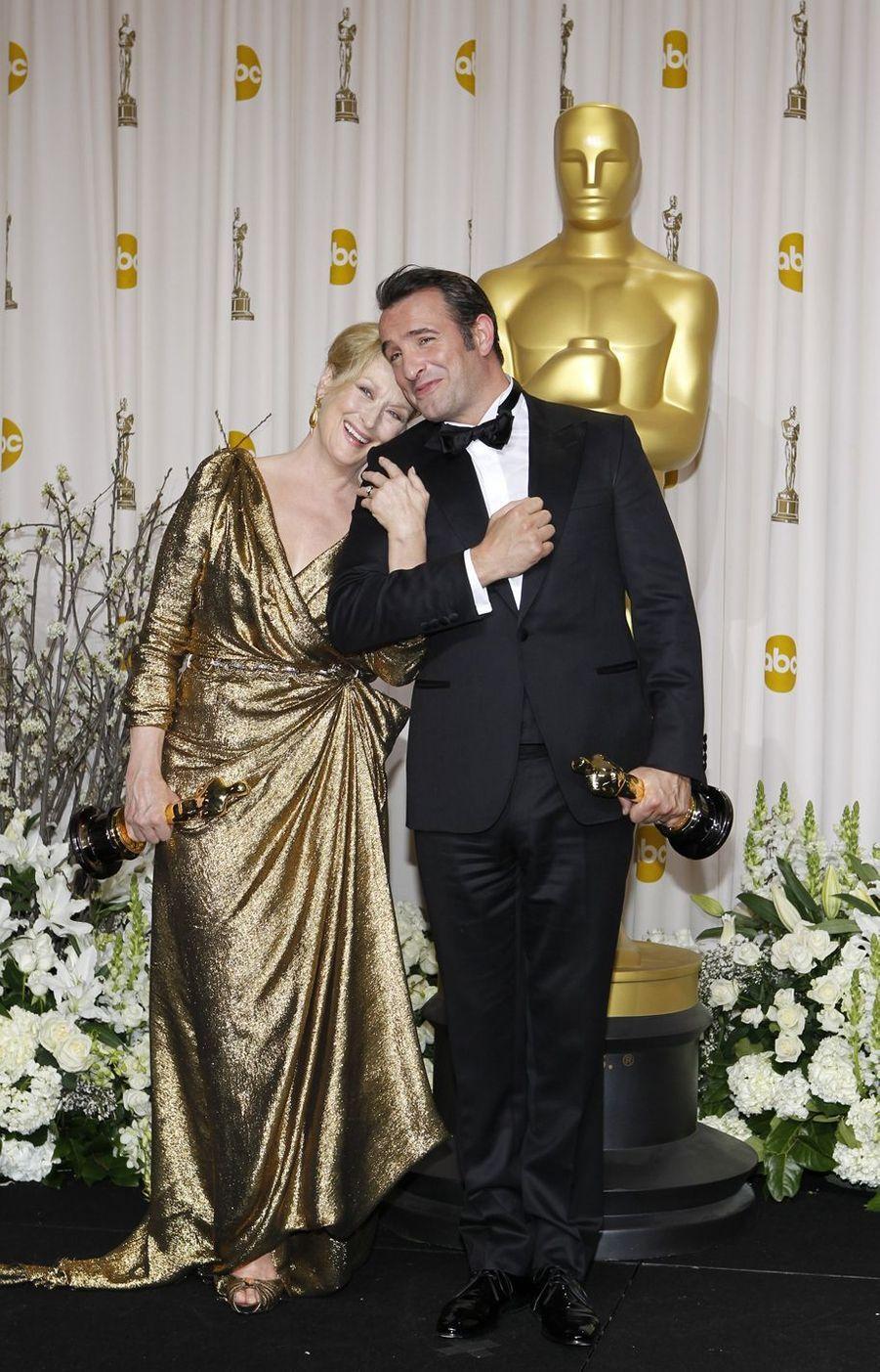 Meryl Streep et Jean Dujardin à Hollywood, le 26 février 2012