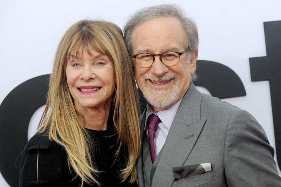 """Steven Spielberg et Kate Capshawà l'avant-première de """"The Post"""", le 14 décembre 2017 à Washington."""