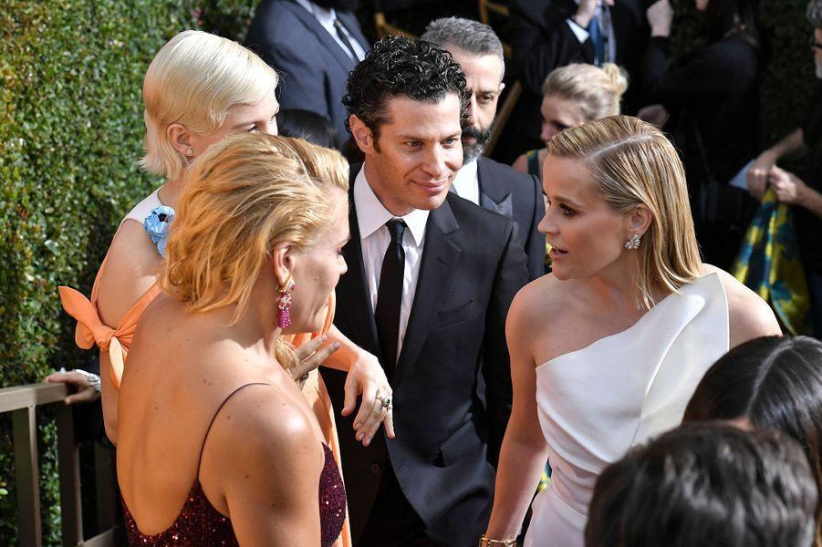 Michelle Williams, Thomas Kail, Busy Philipps et Reese Witherspoonà la 77e cérémonie des Golden Globes à Los Angeles le 5 janvier 2020