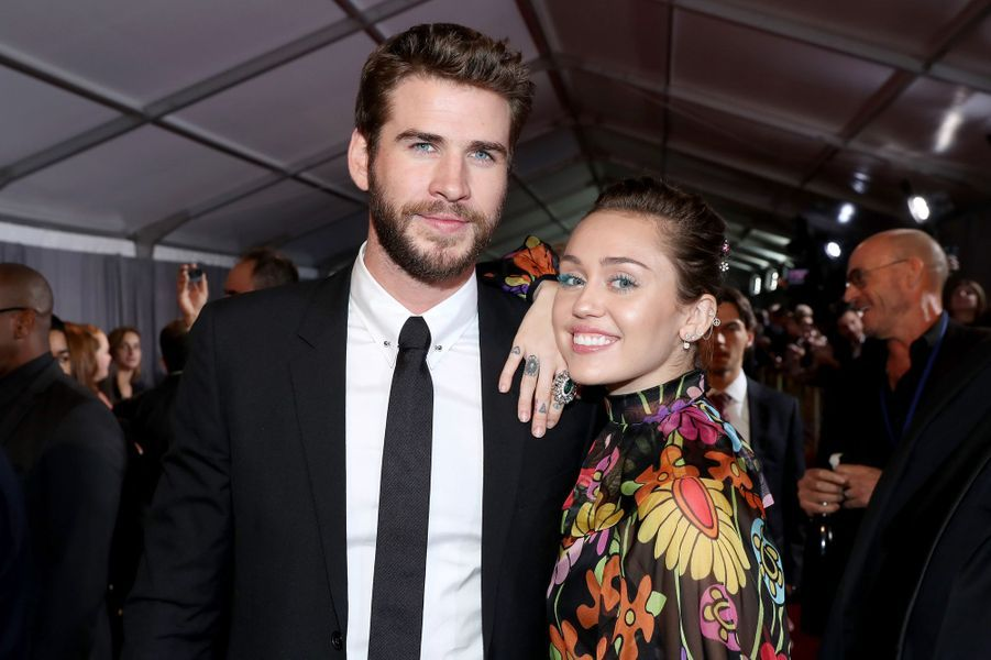 "Miley Cyrus et Liam Hemsworth à la projection de ""Thor : Ragnarok"", à Los Angeles le 10 octobre 2017."