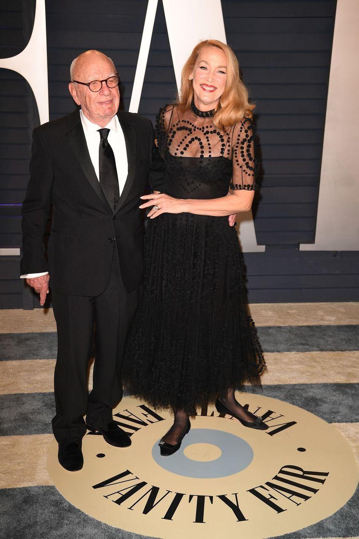 Rupert Murdoch et Jerry Hallà l'after-party des Oscars à Los Angeles le 24 février 2019