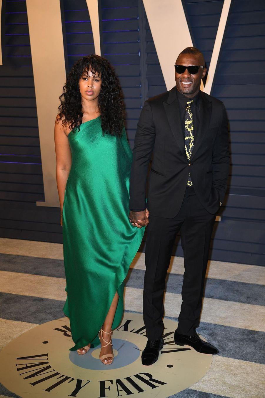 Sabrina Dhowre et Idris Elbaà l'after-party des Oscars à Los Angeles le 24 février 2019