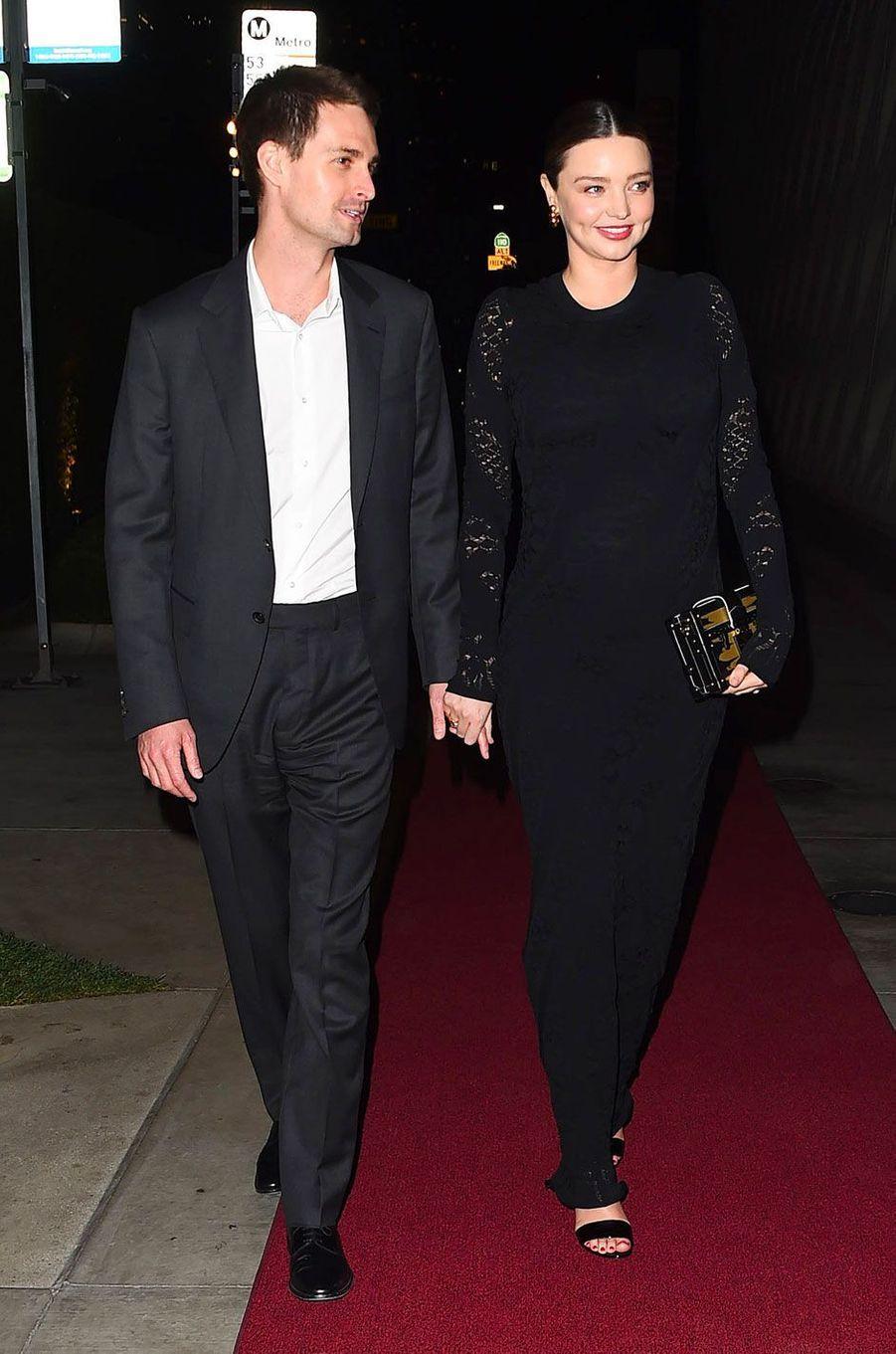 Miranda Kerr et Evan Spiegel à une soirée organisée par Louis Vuitton, à Los Angeles le 8 février 2018
