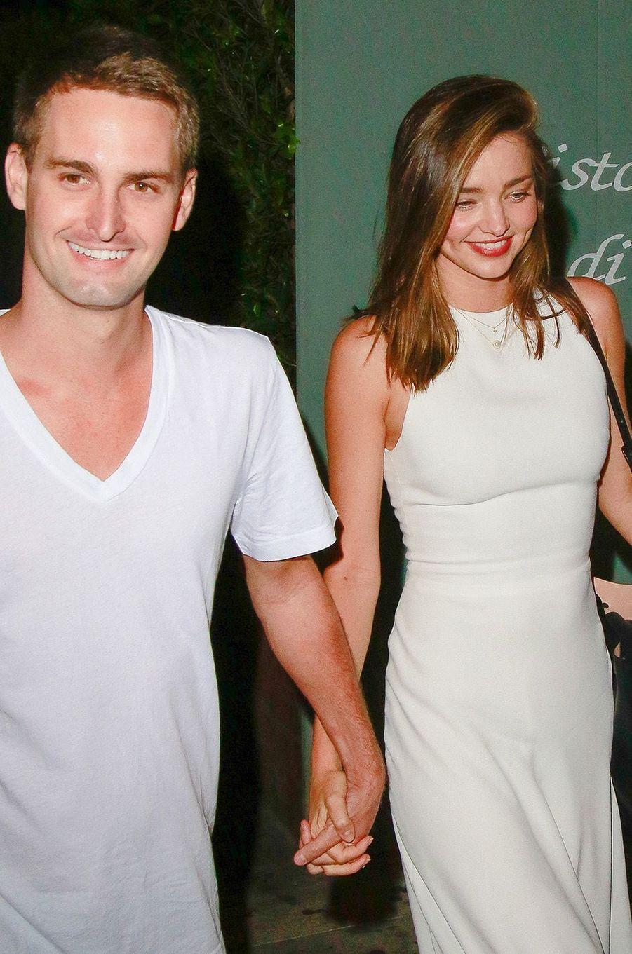 Miranda Kerr et Evan Spiegel à Santa Monica, août 2015.