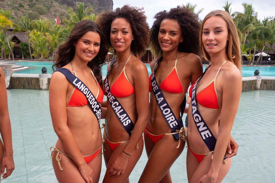 Miss Languedoc-Roussillon, Miss Nord-Pas-de-Calais, Miss Pays-de-la-Loire et Miss Bretagne en bikini