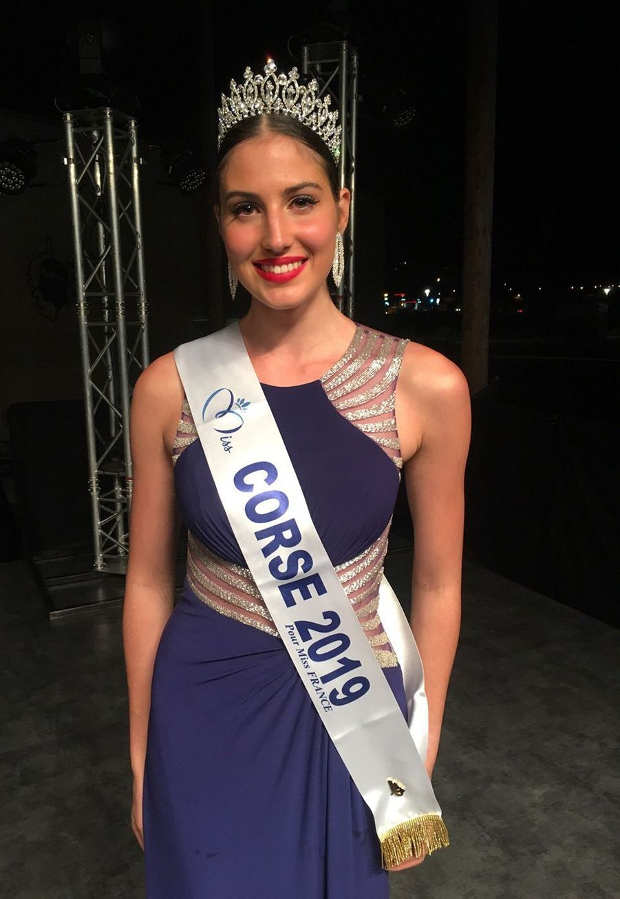 Alixia Cauro, Miss Corse, 20 ans, 1m76, étudiante en licence de chimie, élue le 6 septembre 2019 à Porticcio