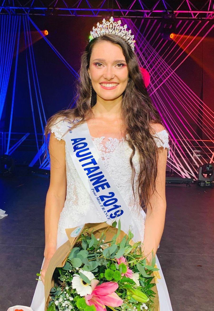 Justine Delmas, Miss Aquitaine, 21 ans, 1m76, étudiante en licence de droit,élue le 14 septembre 2019 à Bergerac