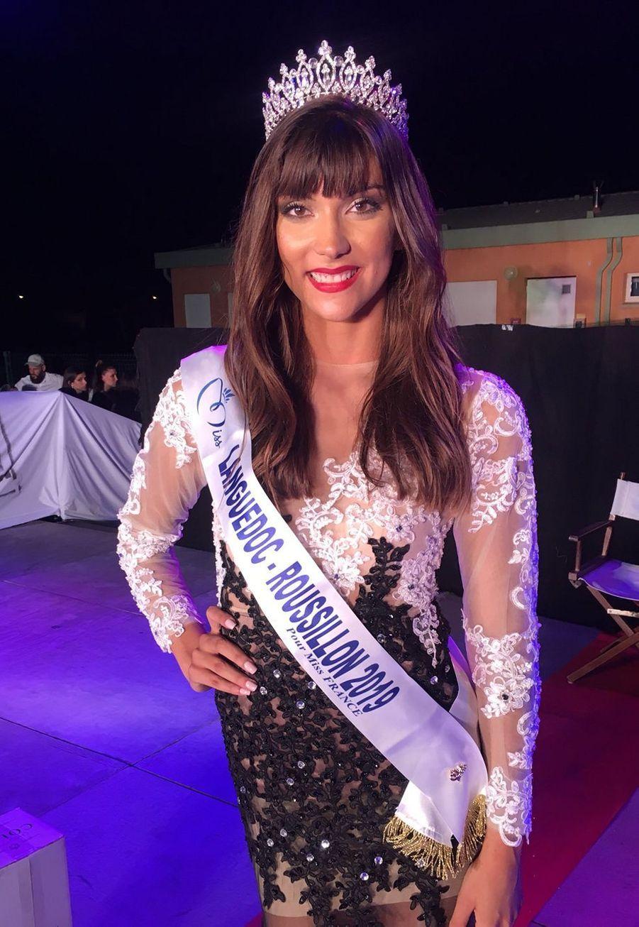 Lucie Caussanel, Miss Languedoc-Roussillon, 18 ans, 1m75, étudiante en première année de médecine, élue le 3 août 2019 à Vias