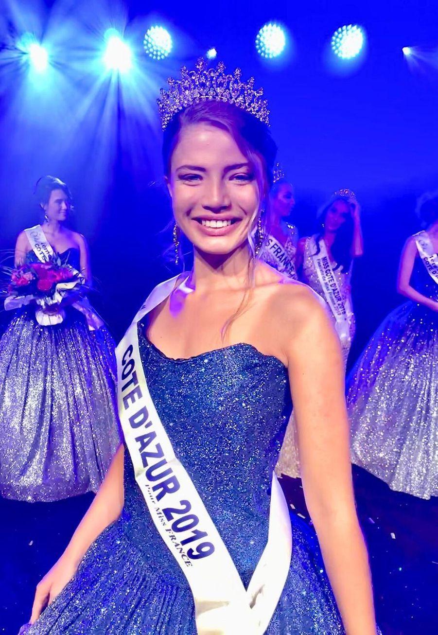 Manelle Souahlia, Miss Côte d'Azur, 18 ans, 1m72, étudiante en école de commerce,élue le 28 juillet 2019 à Mandelieu-la-Napoule
