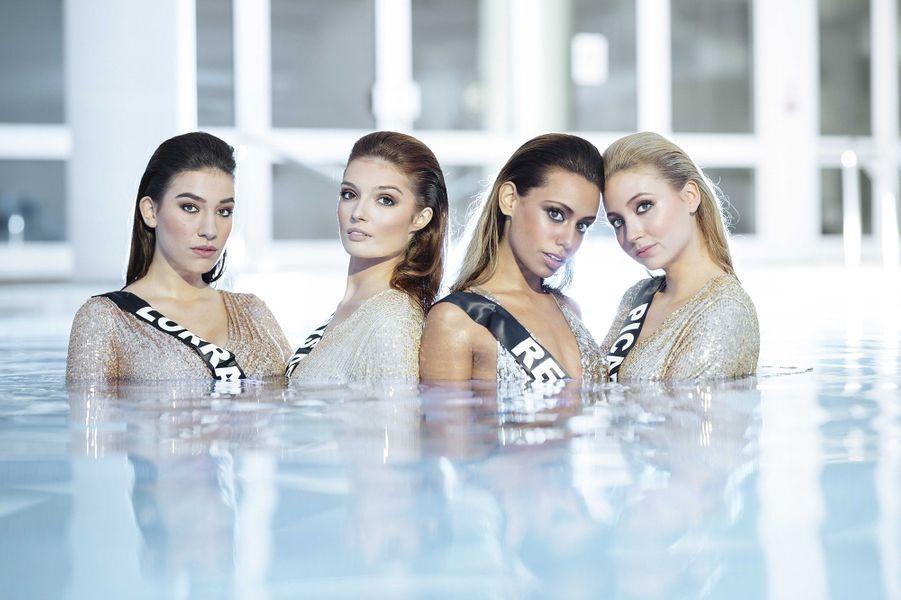 Miss Lorraine Diane Febvay, Miss Pays de la Loire Julie Tagliavacca, Miss Réunion Lyna Boyer et Miss Picardie Tara de Mets