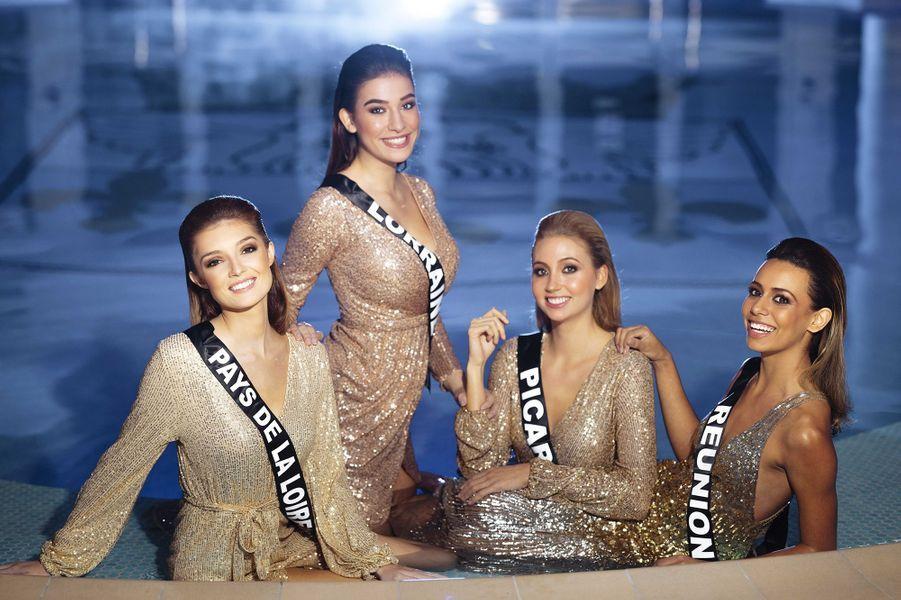 Miss Pays de la Loire Julie Tagliavacca, Miss Lorraine Diane Febvay, Miss Picardie Tara de Mets et Miss Réunion Lyna Boyer
