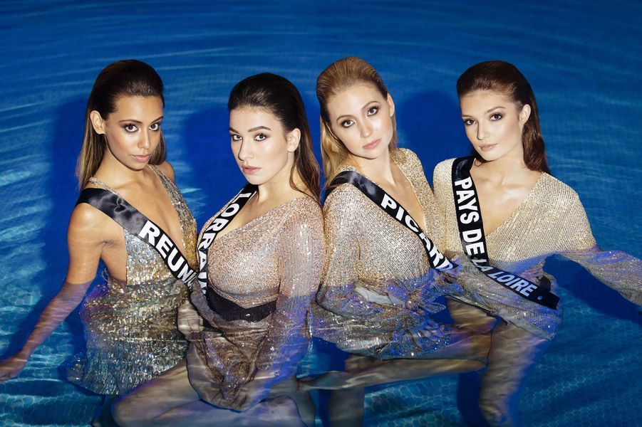 Miss Réunion Lyna Boyer, Miss Lorraine Diane Febvay, Miss Picardie Tara de Mets et Miss Pays de la Loire Julie Tagliavacca