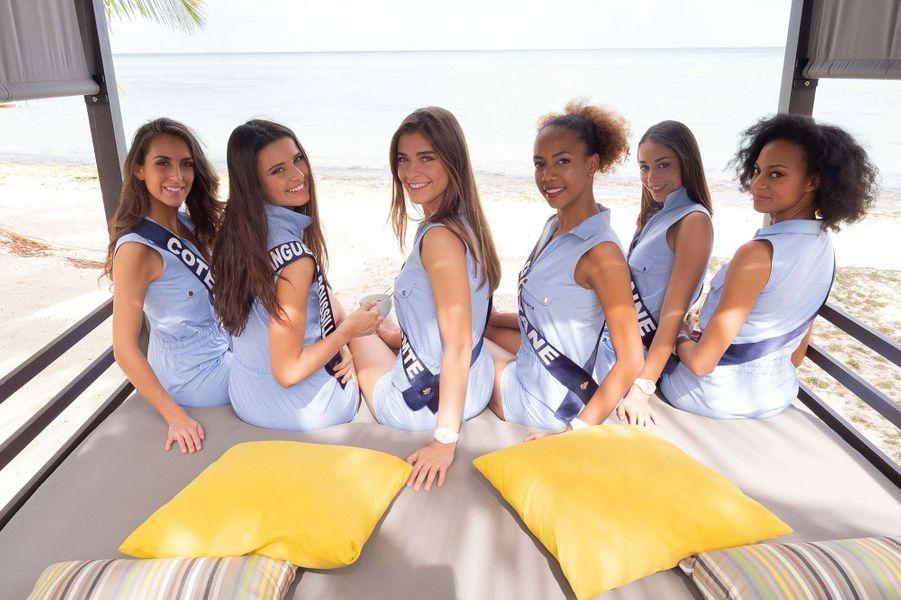 Miss Cote D'Azur, Caroline Perengo, Miss Languedoc-Roussillon, Lola Brengues, Miss Franche Comte, Lauralyne Demesmay, Miss Guyane, Laureline Decocq, Miss Lorraine, Emma Virtz