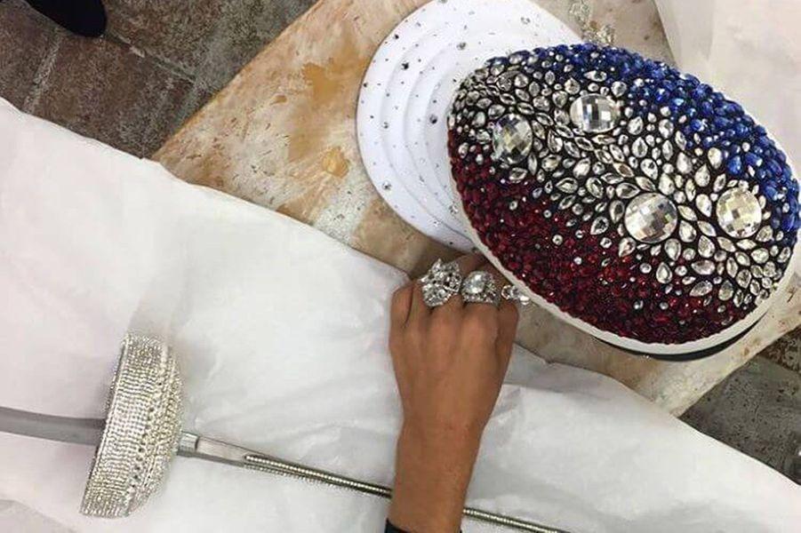 Le costume national d'Alicia Aylies pour le concours Miss Univers, le 18 novembre 2017 à Las Vegas.