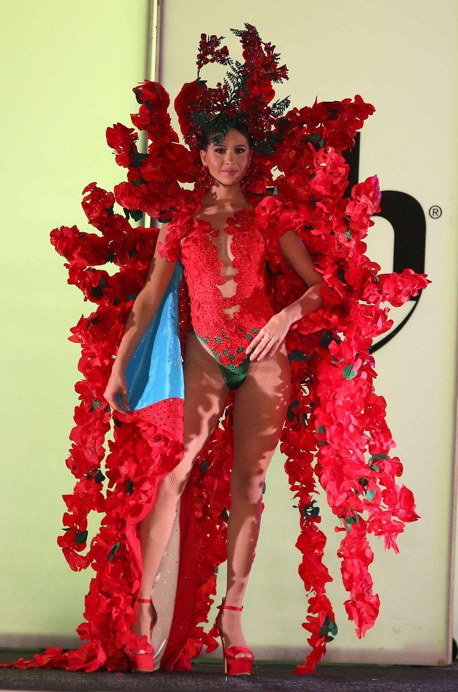 Diana Hernandez, Miss Porto Rico,en costume national pour le concours Miss Univers, le 18 novembre 2017 à Las Vegas.