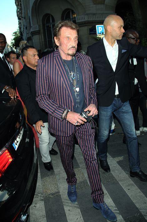 Johnny Hallyday au défilé Saint Laurent à Paris