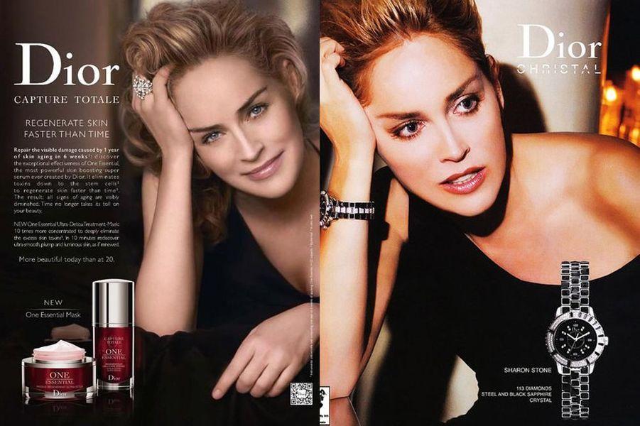 Sharon Stone, égérie des cosmétiques Dior depuis 2005, a également prêté son visage à la ligne d'horlogerie en 2007