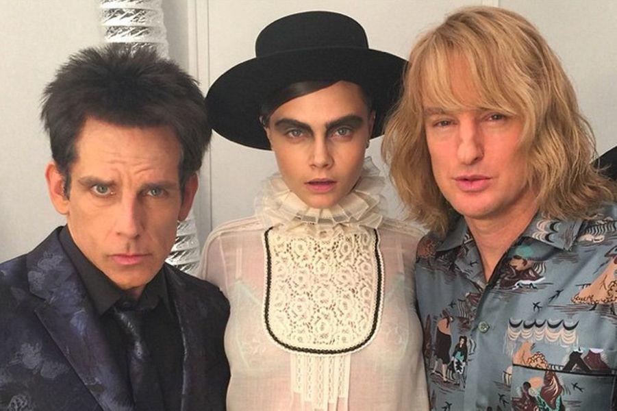 En compagnie des acteurs Ben Stiller et Owen Wilson le 10 mars 2015