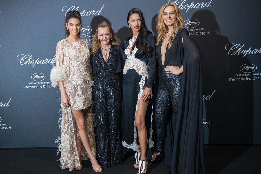 Kendall Jenner, Caroline Scheufele, Adriana Lima et Petra Nemcova au gala Chopard, à Cannes, le 16 mai 2016.