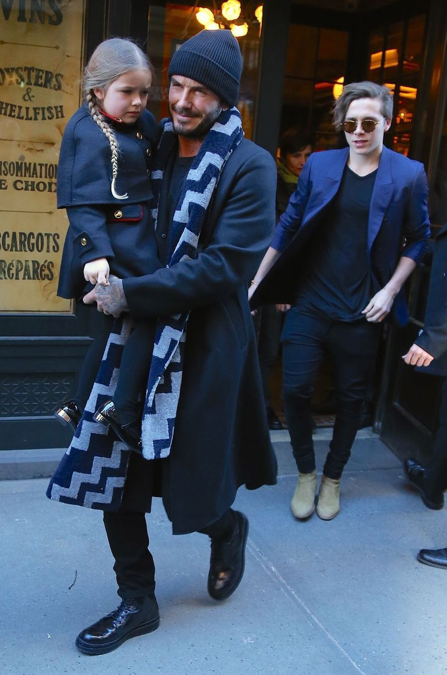 Haper, David et Brooklyn Beckham à New York le 14 février 2016