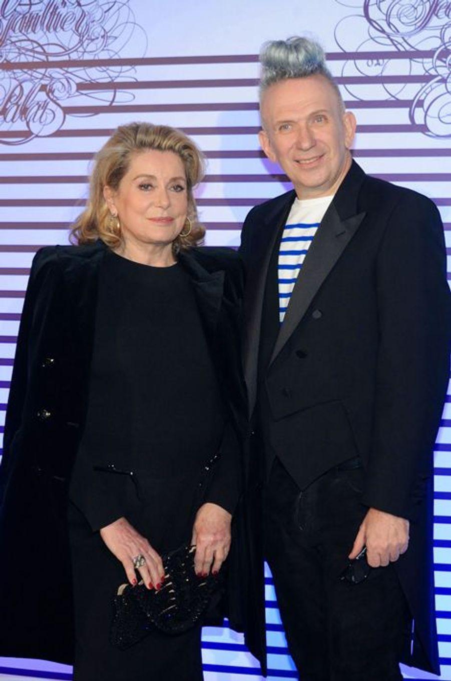 Catherine Deneuve et Jean-Paul Gaultier à Paris le 30 mars 2015