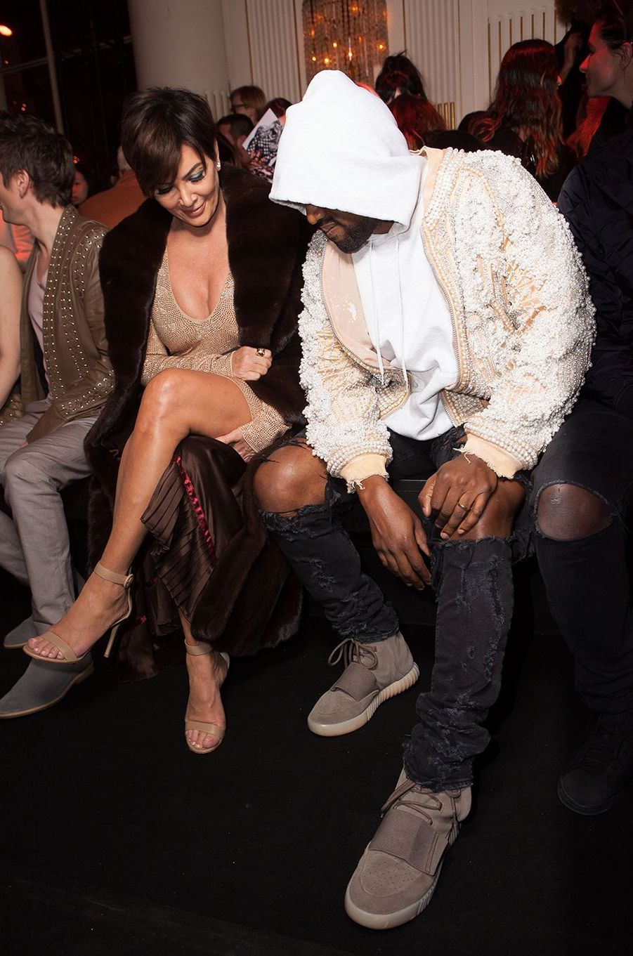 Kris Jenner et Kanye West au défilé Balmain le 3 mars 2016