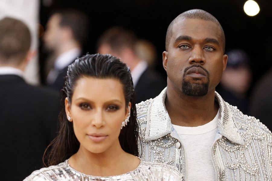 Kanye West et son épouse Kim Kardashian au gala du MET, le 2 mai 2016