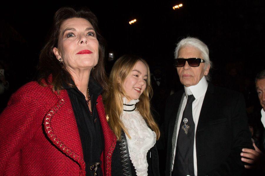 Caroline de Monaco, sa fille Alexandra de Hanovre et Karl Lagerfeld