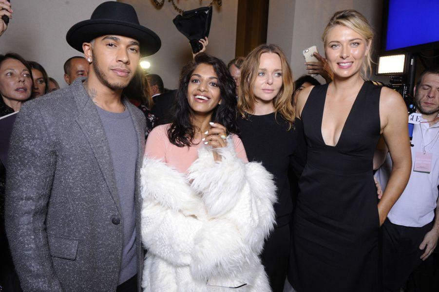 Lewis Hamilton, M.I.A., Stella McCartney et Maria Sharapova au défilé Stella McCartney
