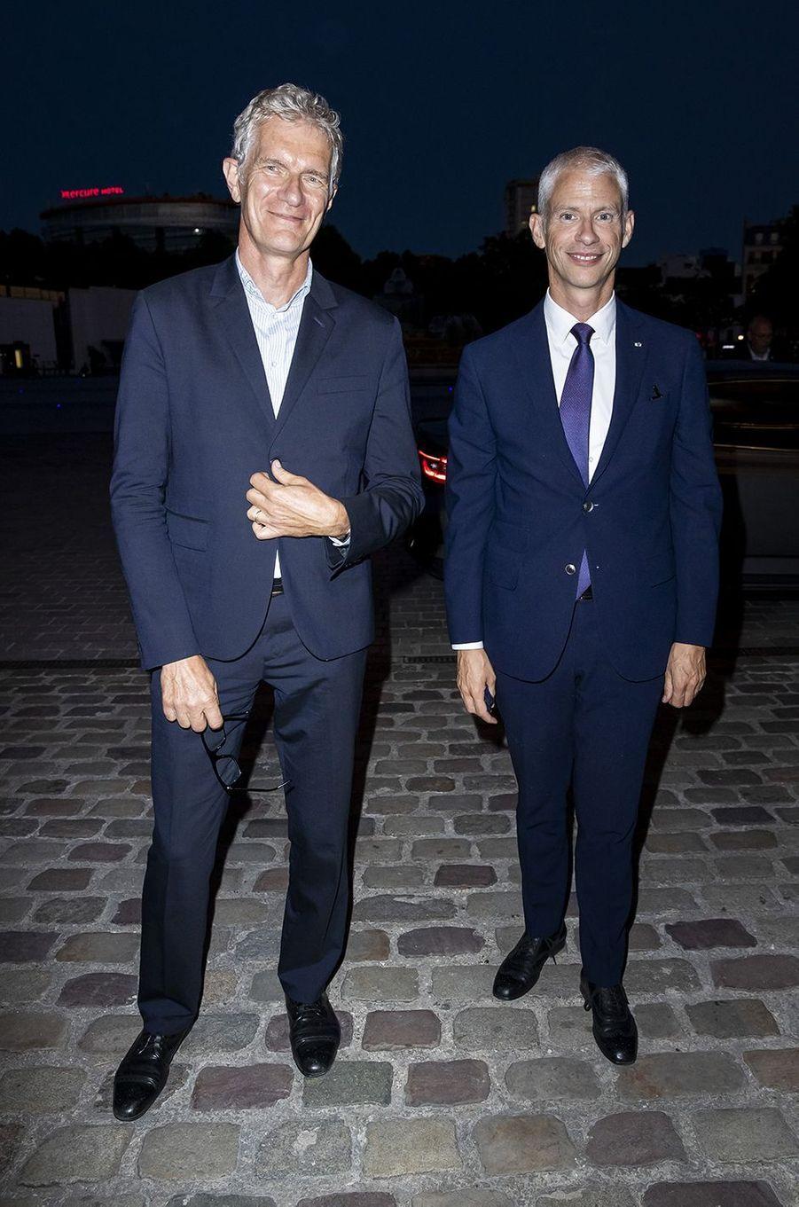 Didier Fusillier (président de la Villette) et Franck Riesterà l'exposition Jam Capsule à la Villette à Paris le 22 juin 2020