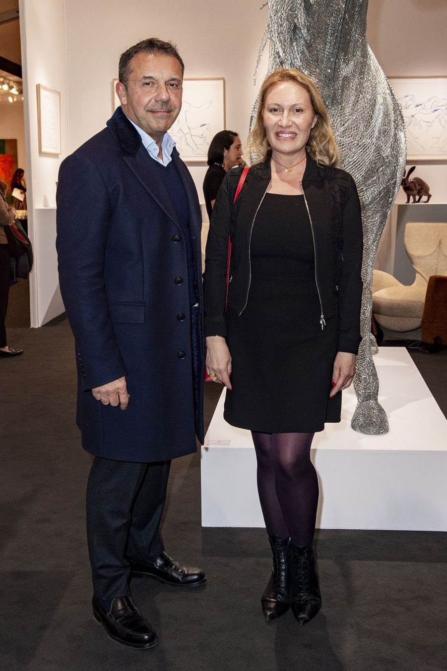 Oliver Widmaier Picasso et sa soeur Diana Widmaier Picasso lors du salon PAD (Paris Art Design) à Paris le 3 avril 2019.