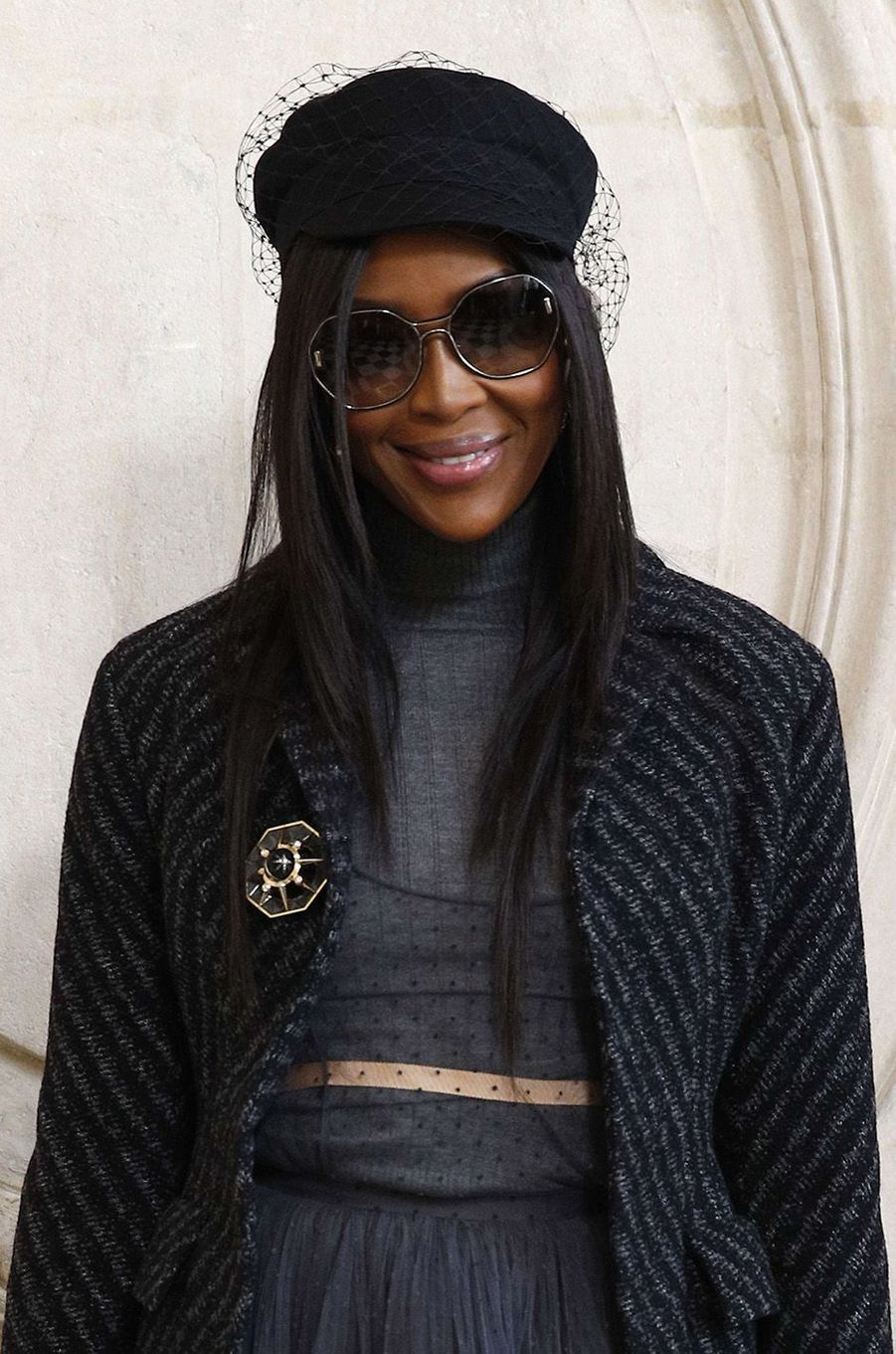 Naomi Campbell au défilé Christian Dior au musée Rodin, à Paris, le 22 janvier 2018.