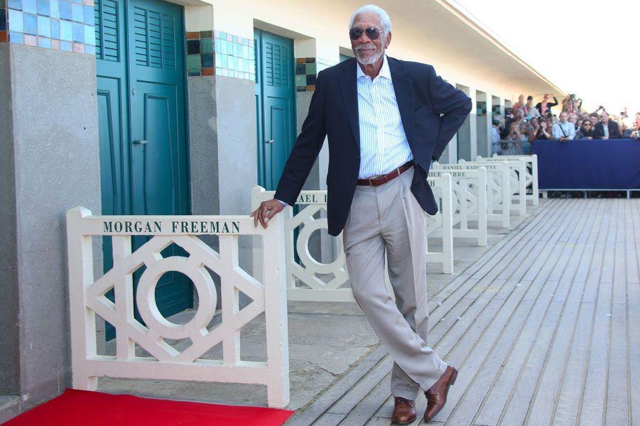 Morgan Freeman à l'inauguration de sa cabine sur les Planches lors du Festival de Deauville, le 7 septembre 2018