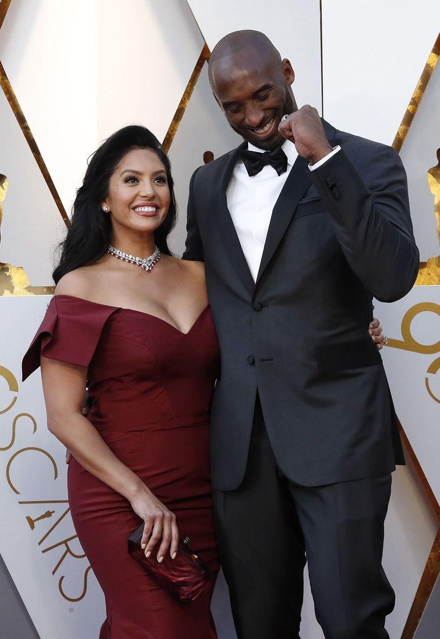 Vanessa et Kobe Bryant lors des Oscars à Los Angeles le 4 mars 2018