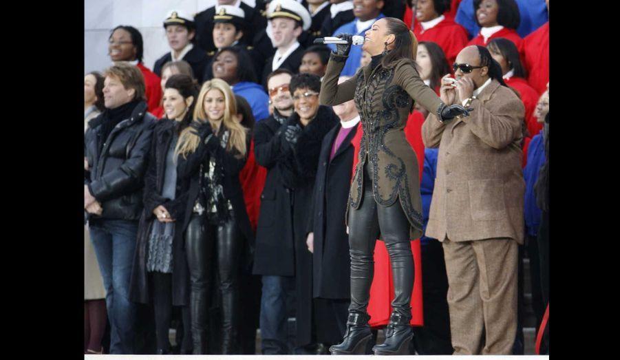 """Beyoncé chantant """"America the Beautiful"""" pendant la cérémonie d'investiture de 2009."""