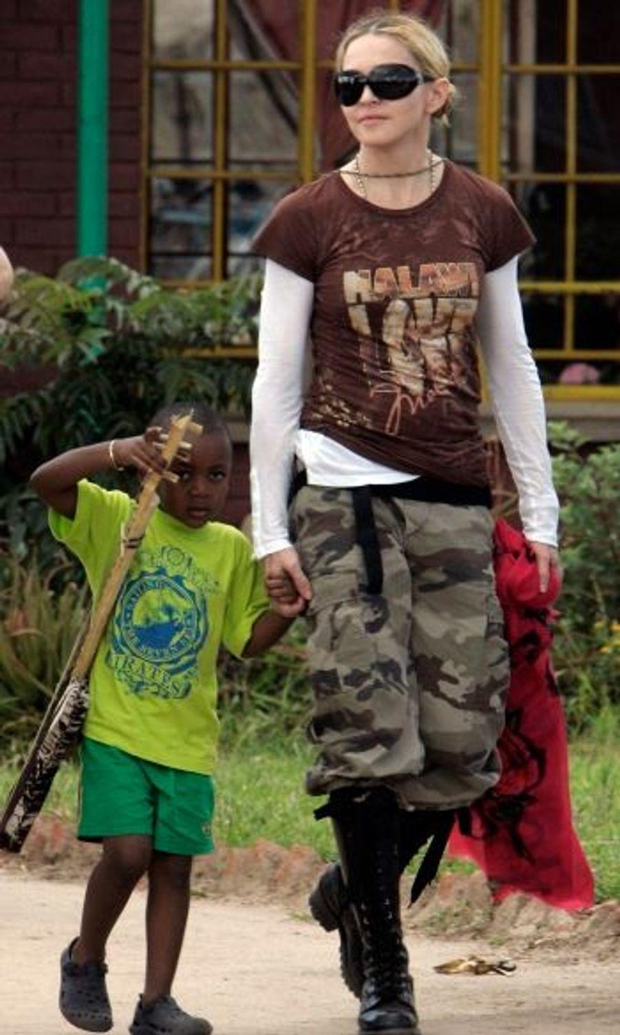 Madonna et son fils David, 3 ans.