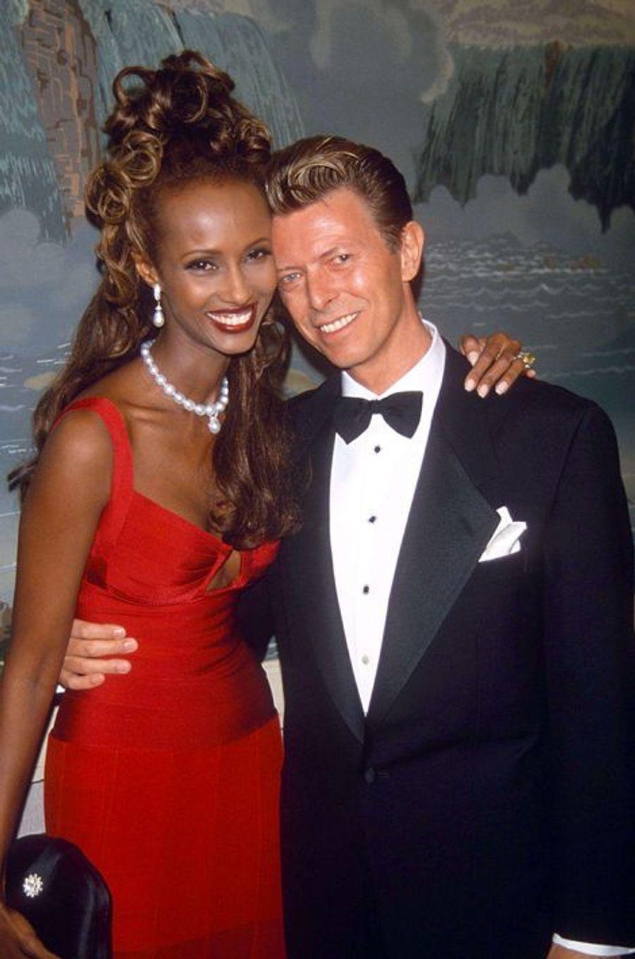 David Bowie et Iman, en juin 1992