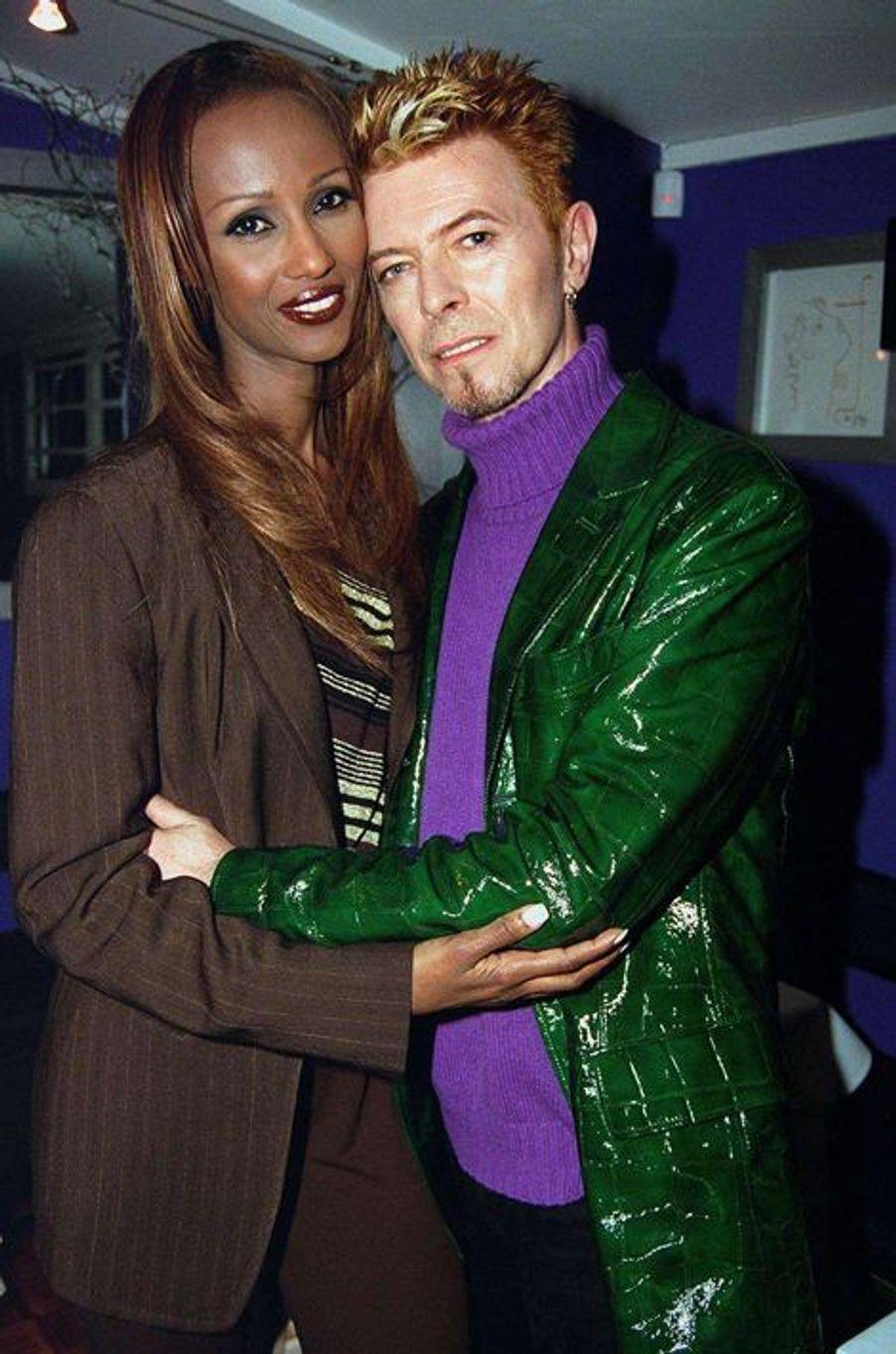 David Bowie et Iman, en juin 1997