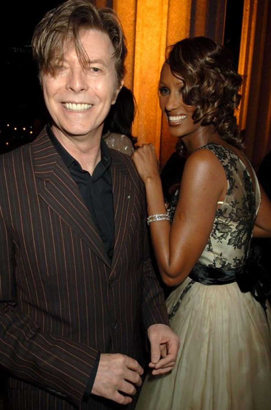 David Bowie et son épouse Iman, avril 2004