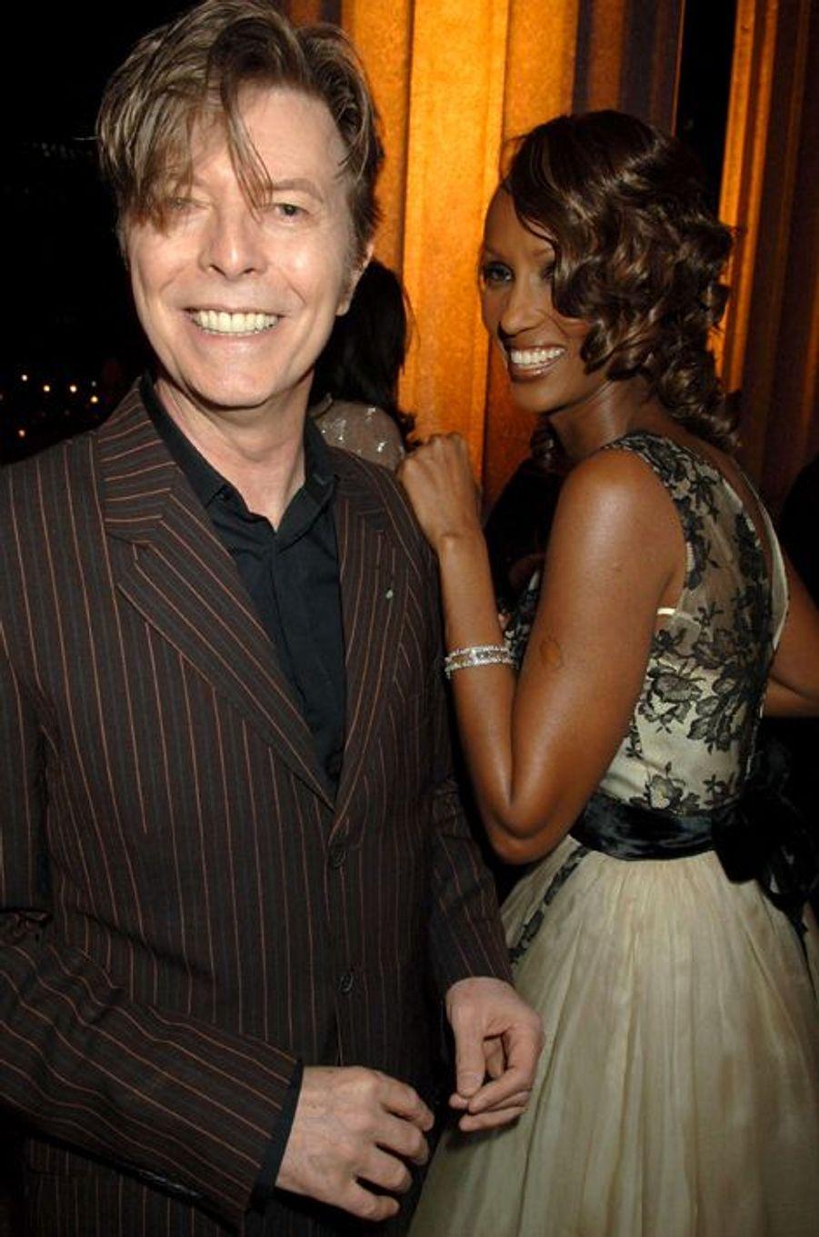 David Bowie et son épouse Iman, avril 2004