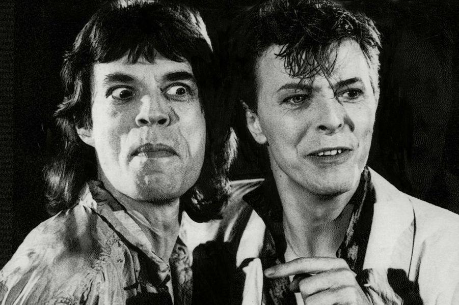 David Bowie avec Mick Jagger, 1980