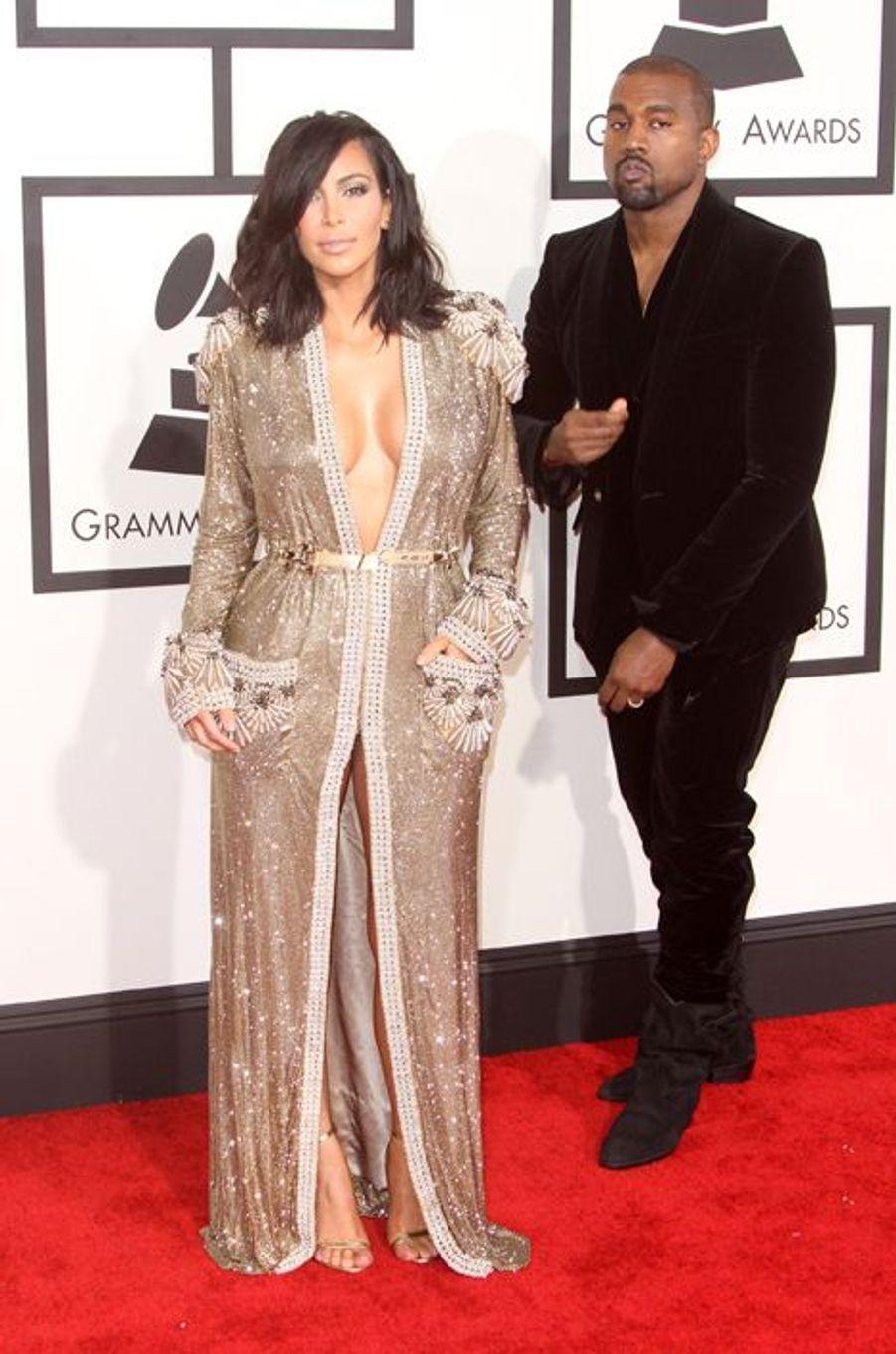 Kim Kardashian et Kanye West à Los Angeles le 8 février 2015