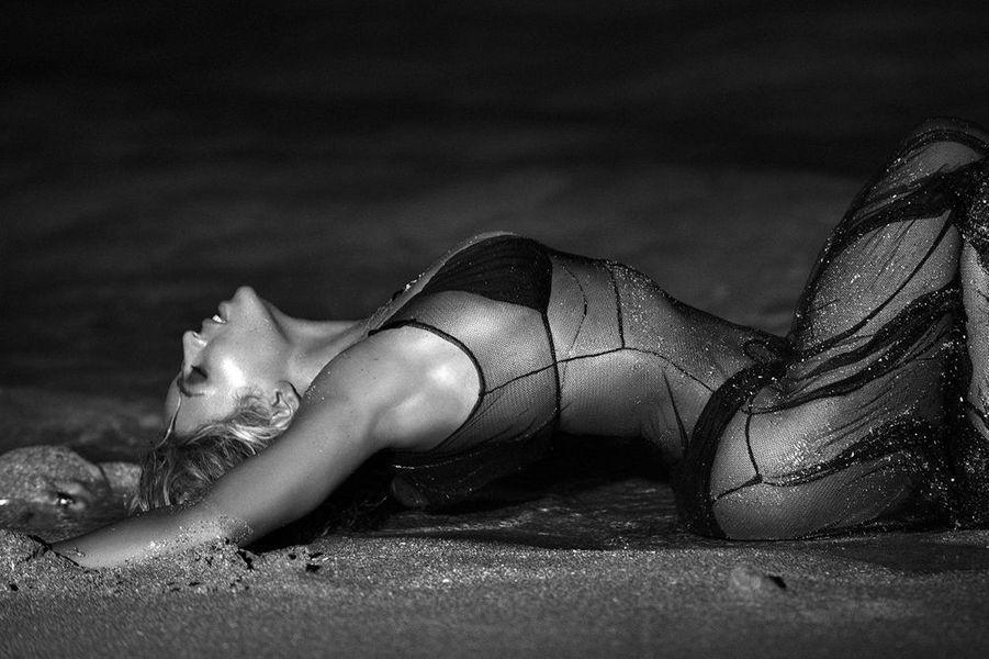 """Beyoncé sur le tournage de son clip """"Drunk in Love"""", décembre 2013."""