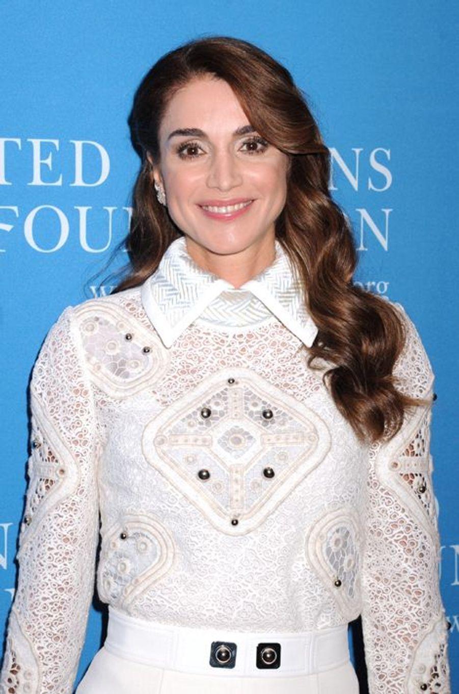 La reine Rania de Jordanie à la soirée de la Fondation des Nations Unies à l'hôtel Four Seasons de New York vendredi dernier.