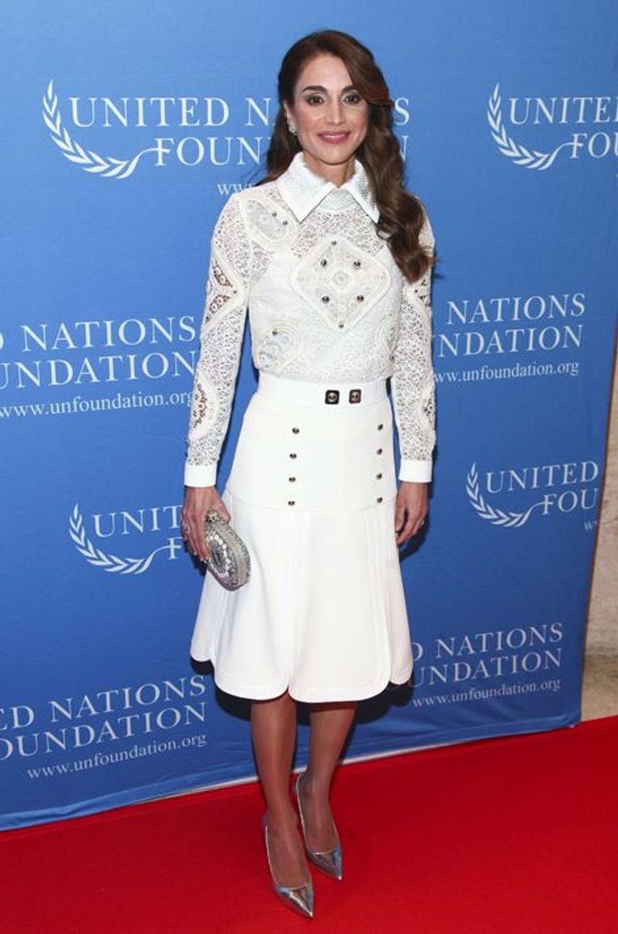 La reine Rania de Jordanie à la soirée de la Fondation des Unies à l'hôtel Four Seasons de New York vendredi dernier.