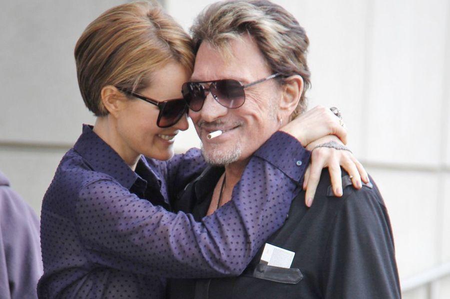 Johnny et Laeticia très complices dans les rues de Los Angeles, février 2012